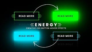 CSS Energy Button Hover Effects   Neon Light Animation Effects on Hover