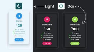 How To Toggle Between Dark and Light Mode   Responsive Pricing Table with CSS & Javascript