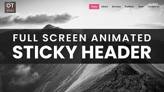Full Screen Animated Sticky Header   Sticky Navigation Bar After Scroll with Html CSS and jQuery