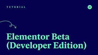 The Elementor Beta (Developer Edition)