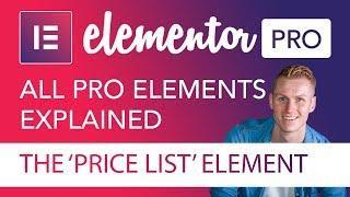 The Price List Element Tutorial | Elementor Pro