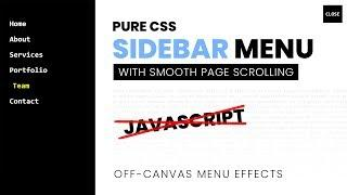 Pure CSS Sidebar Menu   Off Canvas Menu Effects with Smooth Page Scroll Using Html CSS Only