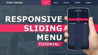 Responsive Sliding Menu -  Mobile Navigation Bar with HTML , CSS and Javascript  - Responsive Design
