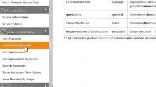 Viewing your parked domain names in WHM