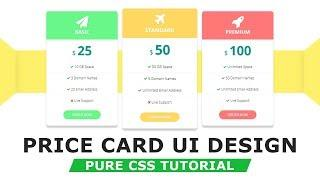 Pricing Table Design with HTML5 CSS3 - How to make pricing table - Pure CSS Tutorials