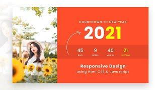 Countdown Timer using Html CSS & vanilla Javascript | New Year Countdown Clock