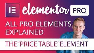 Price Table Element Tutorial | Elementor Pro